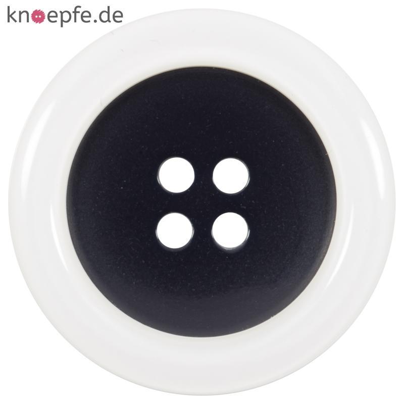 edler kunststoffknopf in schwarz mit wei em rand. Black Bedroom Furniture Sets. Home Design Ideas