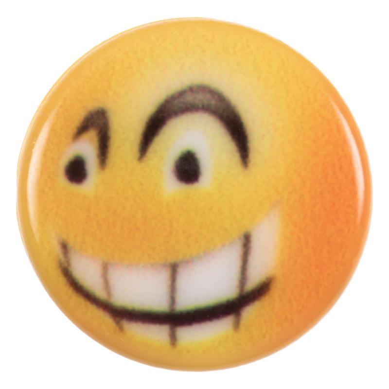 Kinderknopf - hämischer Smiley (Emoticon) in Gelb