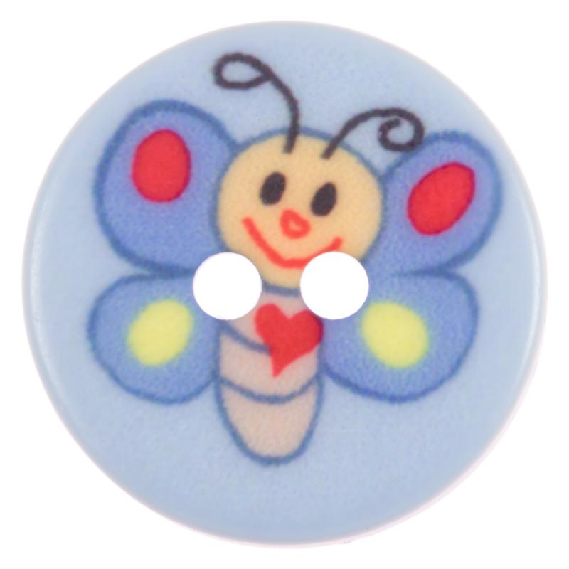 Kinderknopf - lustiger Schmetterling in Blau