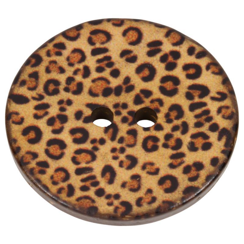 kokosnussknopf mit leopardenmuster in braun. Black Bedroom Furniture Sets. Home Design Ideas