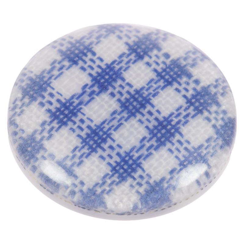 kunstoffknopf transparent mit stoff blau wei kariert. Black Bedroom Furniture Sets. Home Design Ideas