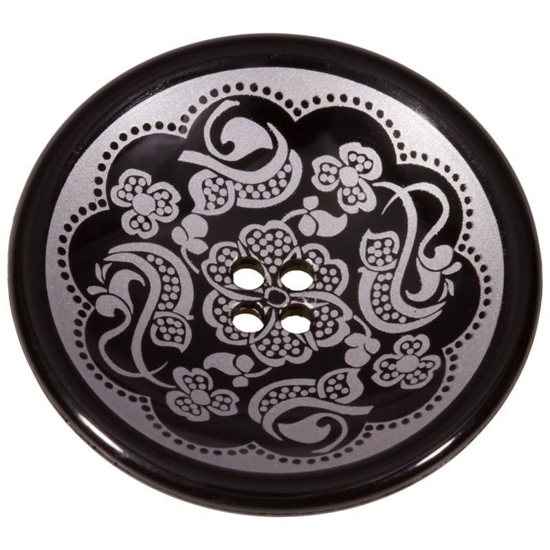 Kunststoffknopf in Schwarz in Tellerform mit floralem Muster in Silber 15mm