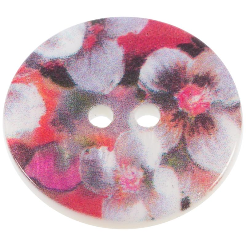 Perlmuttknopf mit vollfächigem Orchideen-Motiv in Rot 15mm