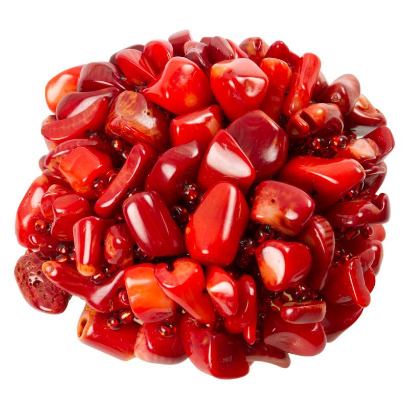 Halbedelstein  Schmuckknopf aus kleinen roten Halbedelsteinen