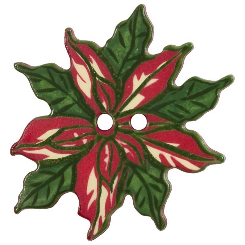 weihnachtsknopf weihnachtsstern in rot mit gr nen bl tter. Black Bedroom Furniture Sets. Home Design Ideas
