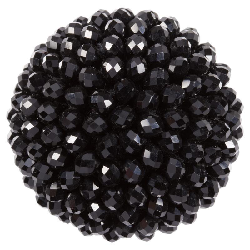zierknopf in schwarz bestickt mit schwarzen perlen. Black Bedroom Furniture Sets. Home Design Ideas
