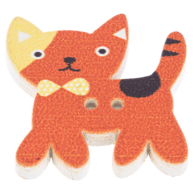 Kinderknopf aus Holz - intelligente Katze in Orange