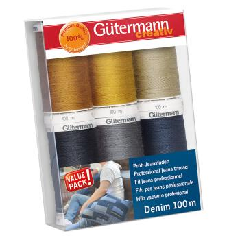 Gütermann Nähgarn-Set Denim (6 x 100m) Basisfarben