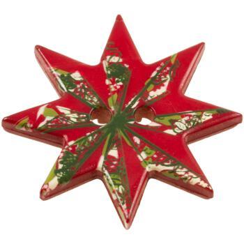 Holzknöpfe Weihnachtsstern Kinderknöpfe Stern mit Weihnachtsmotiven