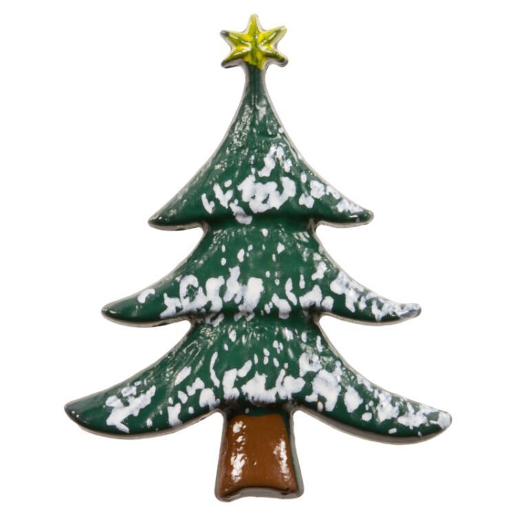 Stern Auf Weihnachtsbaum.Weihnachtsknopf Weihnachtsbaum In Grün Mit Einem Stern In Gold
