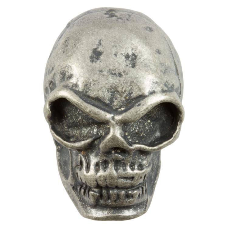 Totenkopf Knopf Skull In Schädelform Aus Metall Altsilber