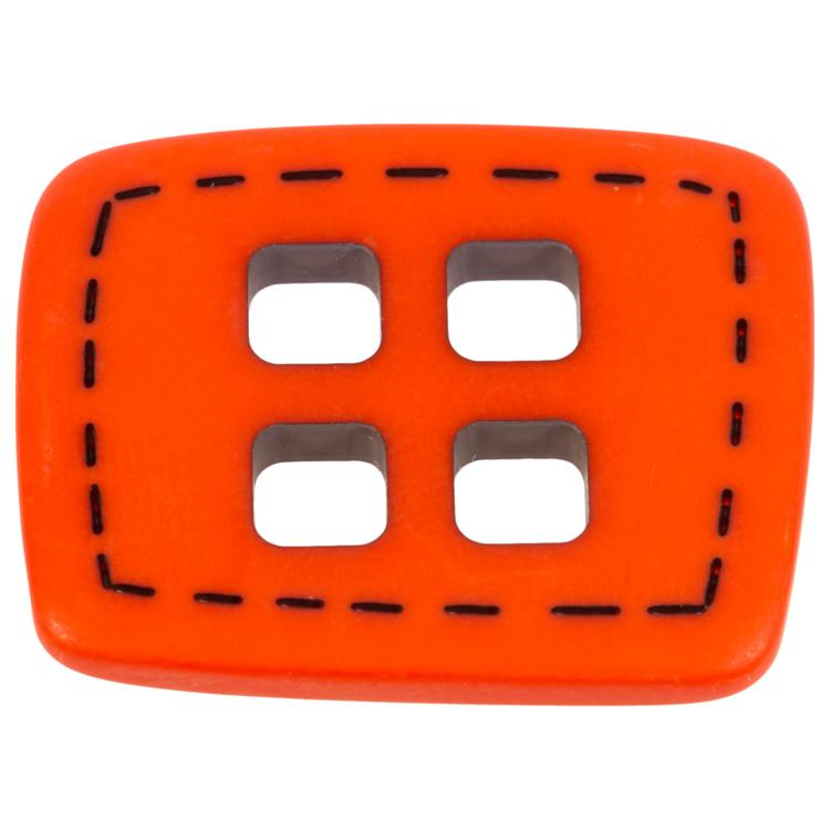 kunststoffknopf rechteckig mit quadratischen l chern in rot. Black Bedroom Furniture Sets. Home Design Ideas