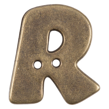 Buchstabenknopf R in Messing (Metalloptik), 18mm