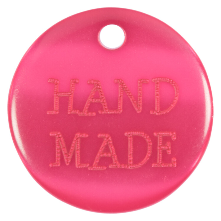 Knopf-Label HAND MADE in Pink 18mm