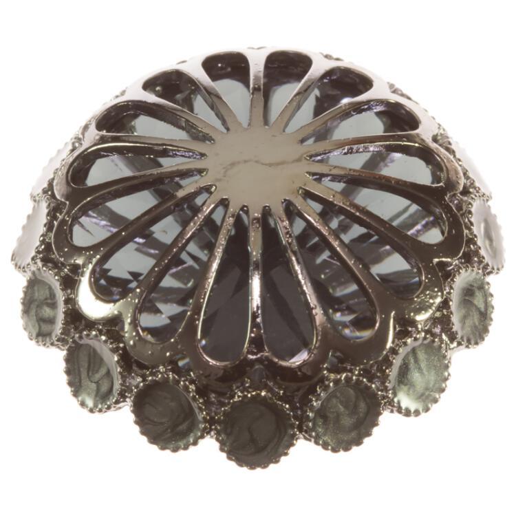 schmuckknopf in grau mit zierkappe aus metall und spiegelkern aus kun. Black Bedroom Furniture Sets. Home Design Ideas