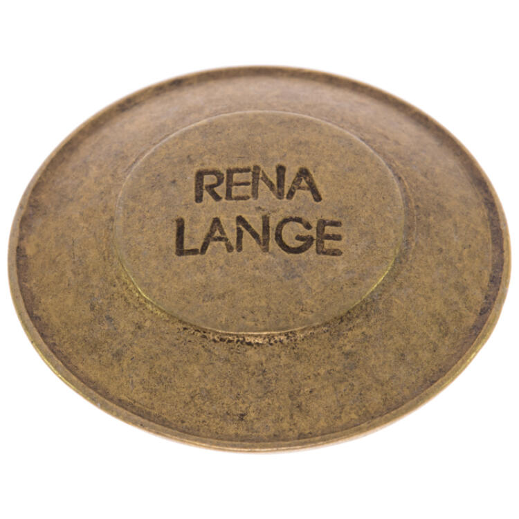 Metallknopf in Altgold mit RENA LANGE-Label