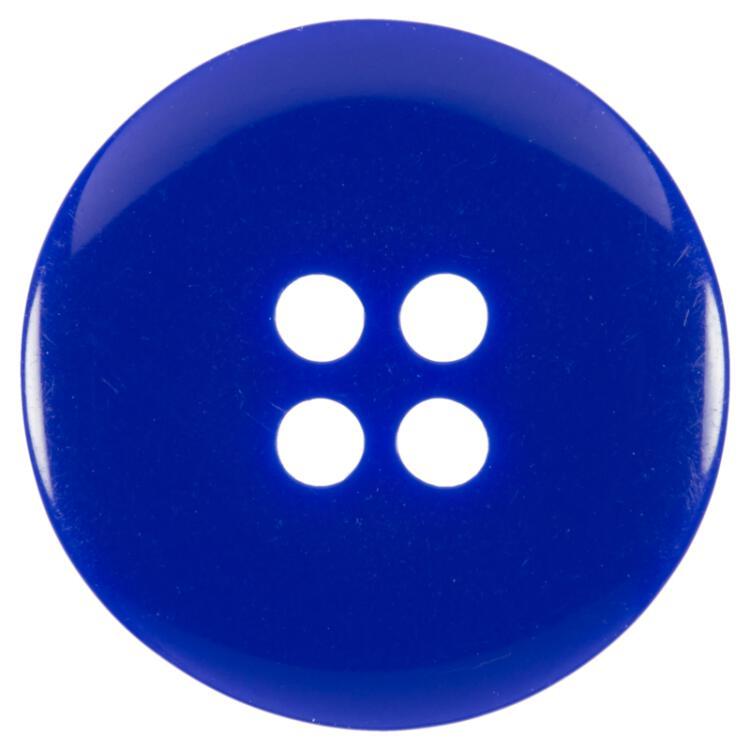 Kunststoffknopf Geschüsselt In Blau Mit Innenring In Rot-Weiß