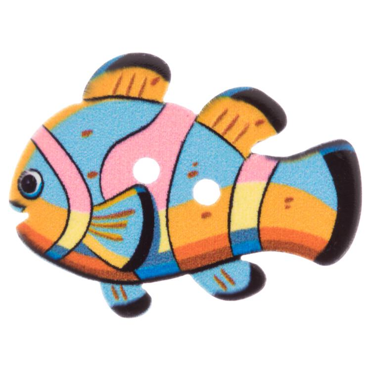 Kinderknopf - Clownfisch in Blau-Rosa