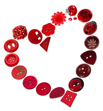 Knöpfe für Valentinstag